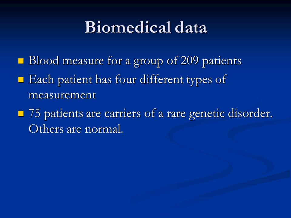 Biomedical data Blood measure for a group of 209 patients Blood measure for a group of 209 patients Each patient has four different types of measurement Each patient has four different types of measurement 75 patients are carriers of a rare genetic disorder.