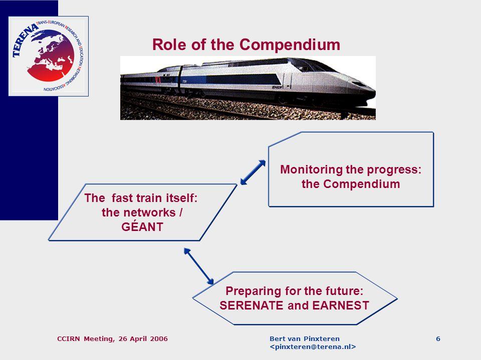 Bert van Pinxteren CCIRN Meeting, 26 April 20065 Basic approach: Organisation-oriented rather than connection-oriented. (A more connection-oriented ap
