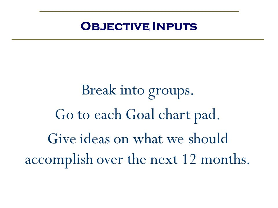 Objective Inputs Break into groups. Go to each Goal chart pad. Give ideas on what we should accomplish over the next 12 months.