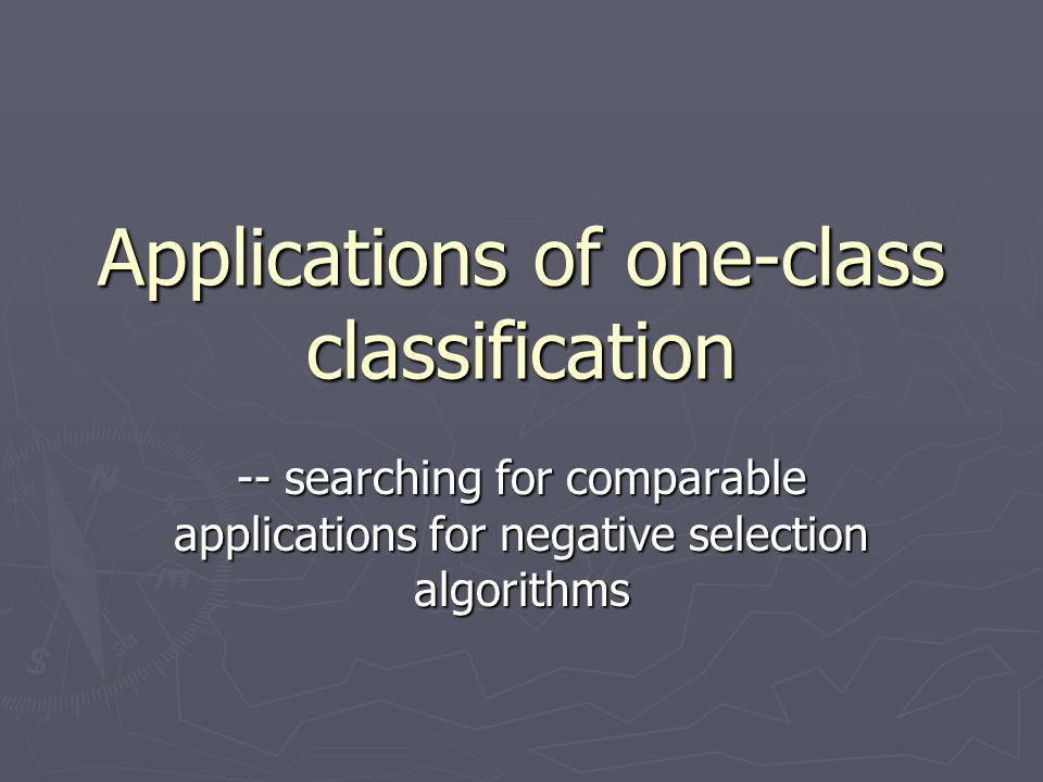 Applications of one-class classification -- searching for comparable applications for negative selection algorithms