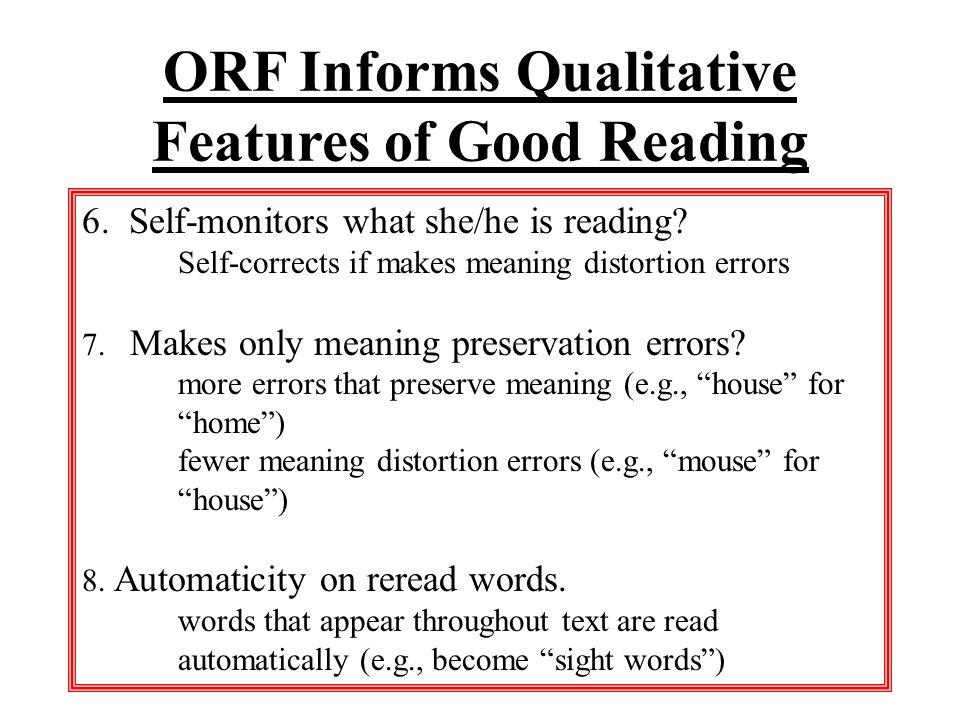 Qualitative Features Worth Noting Source: AIMSweb/M ark Shinn