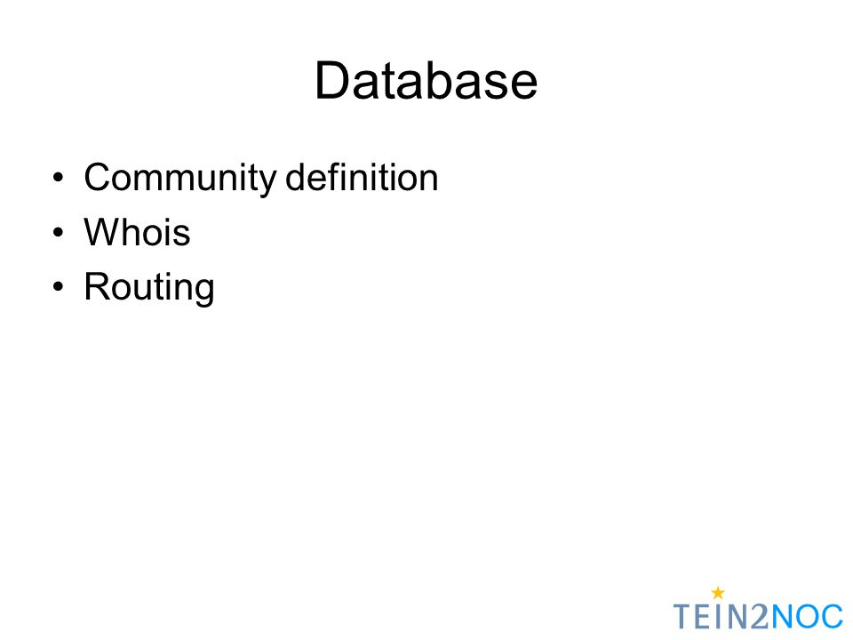 NOC Database Community definition Whois Routing