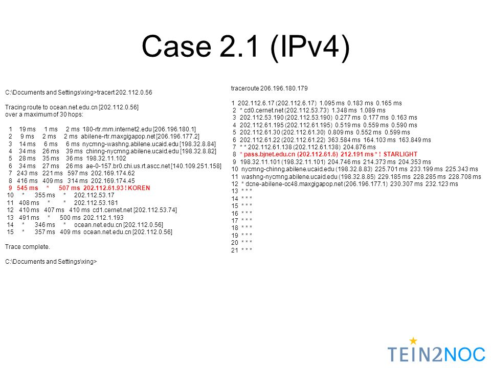 NOC Case 2.1 (IPv4) C:\Documents and Settings\xing>tracert 202.112.0.56 Tracing route to ocean.net.edu.cn [202.112.0.56] over a maximum of 30 hops: 1 19 ms 1 ms 2 ms 180-rtr.mm.internet2.edu [206.196.180.1] 2 9 ms 2 ms 2 ms abilene-rtr.maxgigapop.net [206.196.177.2] 3 14 ms 6 ms 6 ms nycmng-washng.abilene.ucaid.edu [198.32.8.84] 4 34 ms 26 ms 39 ms chinng-nycmng.abilene.ucaid.edu [198.32.8.82] 5 28 ms 35 ms 36 ms 198.32.11.102 6 34 ms 27 ms 26 ms ae-0-157.br0.chi.us.rt.ascc.net [140.109.251.158] 7 243 ms 221 ms 597 ms 202.169.174.62 8 416 ms 409 ms 314 ms 202.169.174.45 9 545 ms * 507 ms 202.112.61.93 .