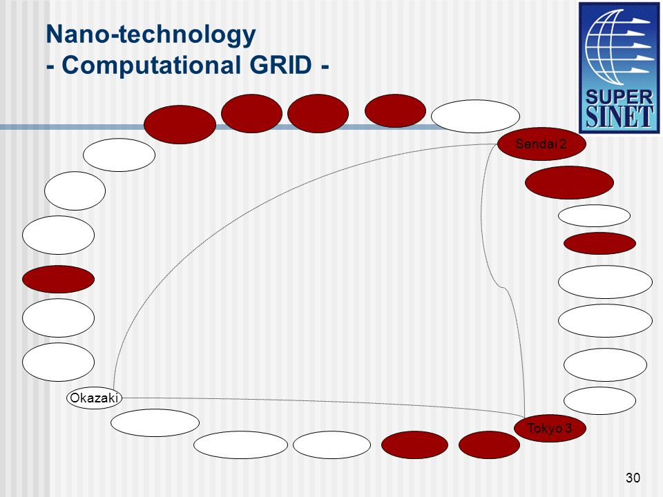 30 Nano-technology - Computational GRID - Sendai 2 Tokyo 3 Okazaki
