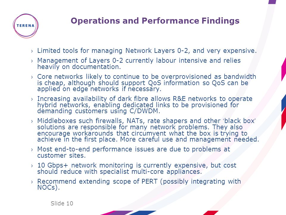 Slide 10 Operations and Performance Findings Limited tools for managing Network Layers 0-2, and very expensive. Management of Layers 0-2 currently lab