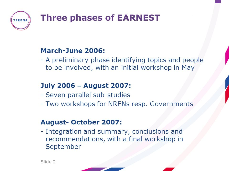 Slide 2 Three phases of EARNEST March-June 2006: -A preliminary phase identifying topics and people to be involved, with an initial workshop in May Ju