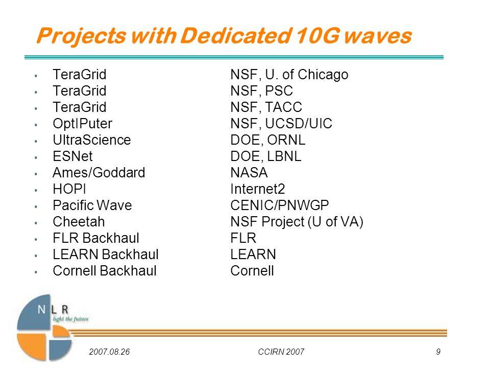 2007.08.26CCIRN 20079 TeraGridNSF, U. of Chicago TeraGridNSF, PSC TeraGridNSF, TACC OptIPuterNSF, UCSD/UIC UltraScienceDOE, ORNL ESNetDOE, LBNL Ames/G
