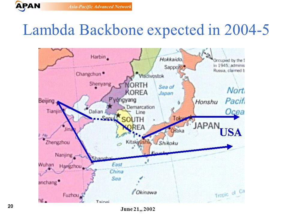 20 June 21,, 2002 Lambda Backbone expected in 2004-5
