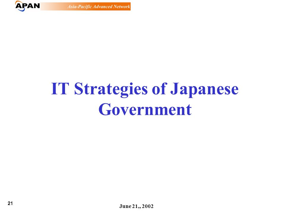 21 June 21,, 2002 IT Strategies of Japanese Government