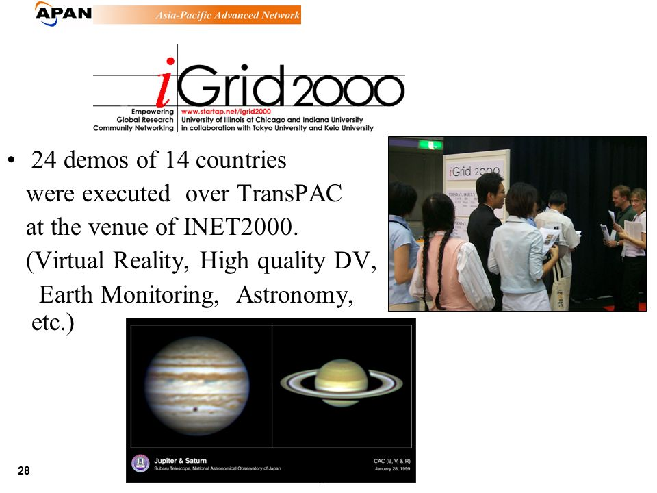 28 June 21,, 2002 24 demos of 14 countries were executed over TransPAC at the venue of INET2000. (Virtual Reality, High quality DV, Earth Monitoring,