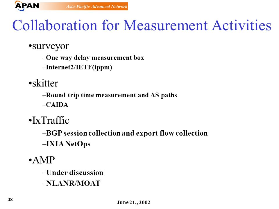 38 June 21,, 2002 Collaboration for Measurement Activities surveyor –One way delay measurement box –Internet2/IETF(ippm) skitter –Round trip time meas