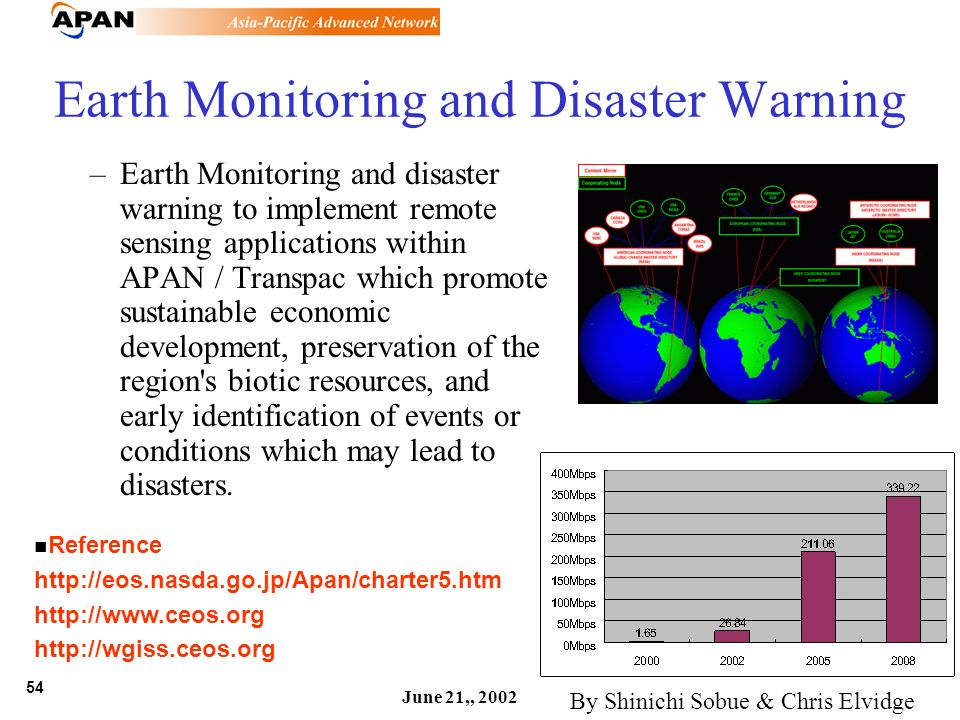 54 June 21,, 2002 Earth Monitoring and Disaster Warning –Earth Monitoring and disaster warning to implement remote sensing applications within APAN /