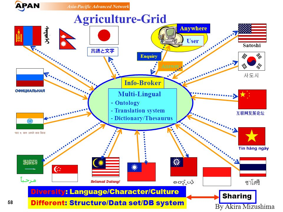 58 June 21,, 2002 Enquiry Answer Agriculture-Grid Info-Broker Multi-Lingual - Ontology - Translation system - Dictionary/Thesaurus User Diversity: Lan