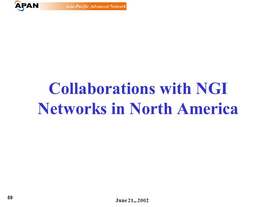 59 June 21,, 2002 Collaborations with NGI Networks in North America