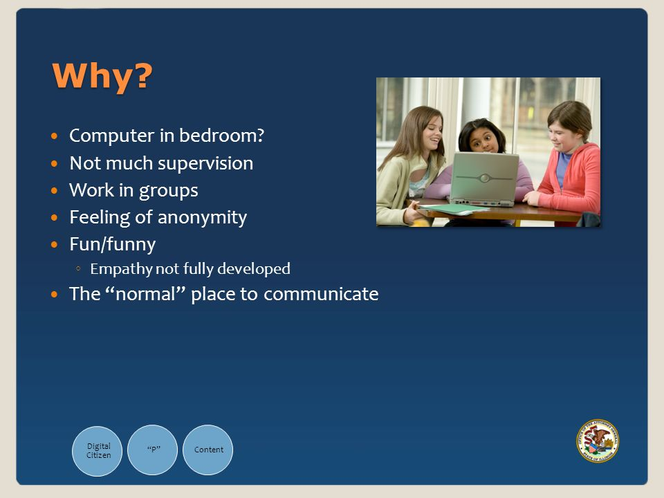 Why? Computer in bedroom? Not much supervision Work in groups Feeling of anonymity Fun/funny Empathy not fully developed The normal place to communica