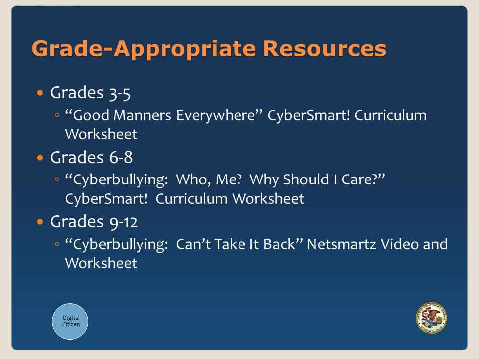 Grade-Appropriate Resources Grades 3-5 Good Manners Everywhere CyberSmart! Curriculum Worksheet Grades 6-8 Cyberbullying: Who, Me? Why Should I Care?