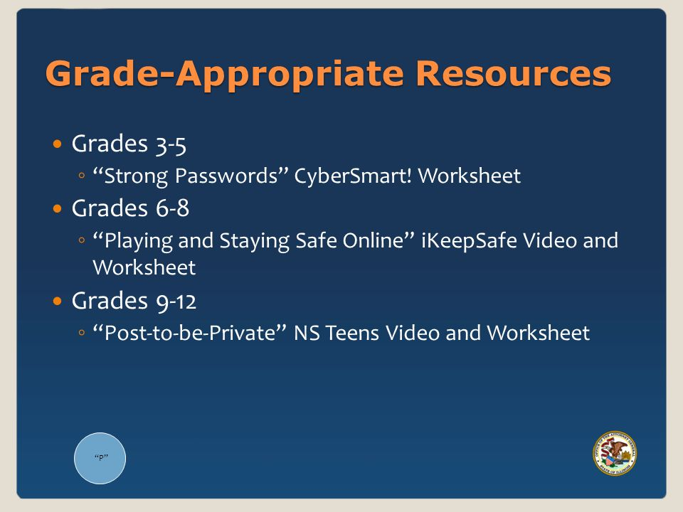 P Grade-Appropriate Resources Grades 3-5 Strong Passwords CyberSmart! Worksheet Grades 6-8 Playing and Staying Safe Online iKeepSafe Video and Workshe