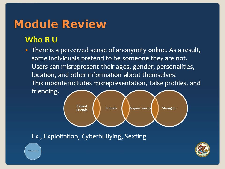 Module Review Closest Friends FriendsAcquaintancesStrangers Who R U There is a perceived sense of anonymity online.
