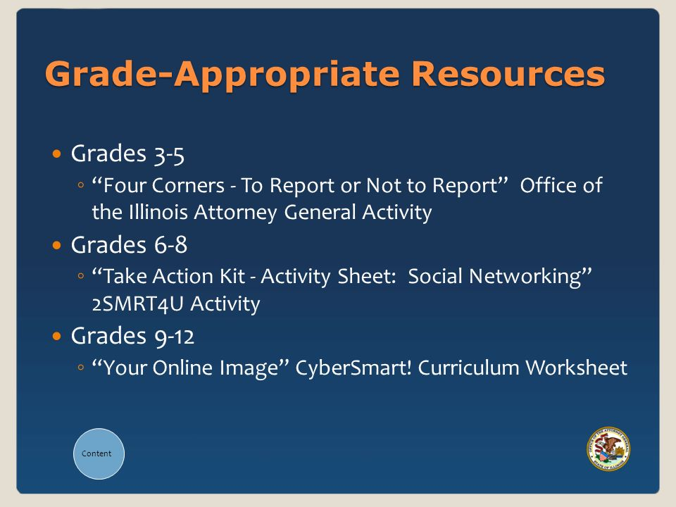 Content Grade-Appropriate Resources Grades 3-5 Four Corners - To Report or Not to Report Office of the Illinois Attorney General Activity Grades 6-8 Take Action Kit - Activity Sheet: Social Networking 2SMRT4U Activity Grades 9-12 Your Online Image CyberSmart.