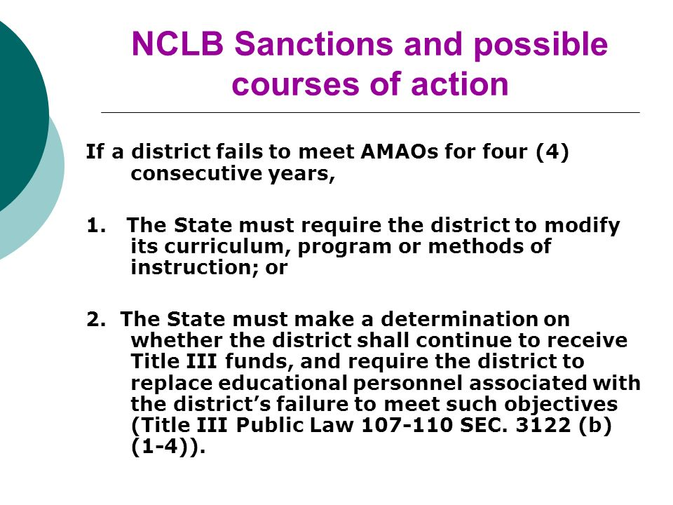 NCLB Sanctions and possible courses of action If a district fails to meet AMAOs for four (4) consecutive years, 1.