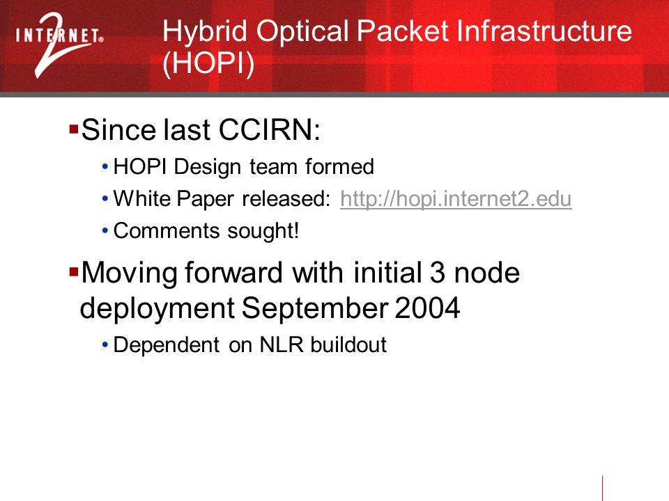 Hybrid Optical Packet Infrastructure (HOPI) Since last CCIRN: HOPI Design team formed White Paper released: http://hopi.internet2.eduhttp://hopi.internet2.edu Comments sought.
