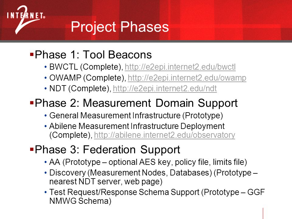 Project Phases Phase 1: Tool Beacons BWCTL (Complete), http://e2epi.internet2.edu/bwctlhttp://e2epi.internet2.edu/bwctl OWAMP (Complete), http://e2epi.internet2.edu/owamphttp://e2epi.internet2.edu/owamp NDT (Complete), http://e2epi.internet2.edu/ndthttp://e2epi.internet2.edu/ndt Phase 2: Measurement Domain Support General Measurement Infrastructure (Prototype) Abilene Measurement Infrastructure Deployment (Complete), http://abilene.internet2.edu/observatoryhttp://abilene.internet2.edu/observatory Phase 3: Federation Support AA (Prototype – optional AES key, policy file, limits file) Discovery (Measurement Nodes, Databases) (Prototype – nearest NDT server, web page) Test Request/Response Schema Support (Prototype – GGF NMWG Schema)
