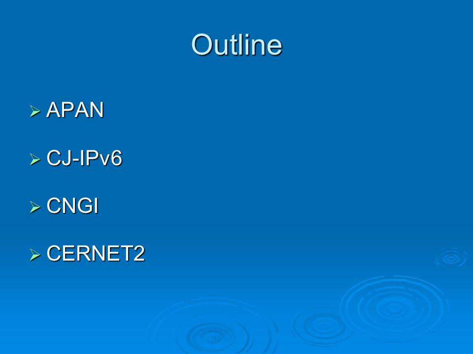 Outline APAN APAN CJ-IPv6 CJ-IPv6 CNGI CNGI CERNET2 CERNET2