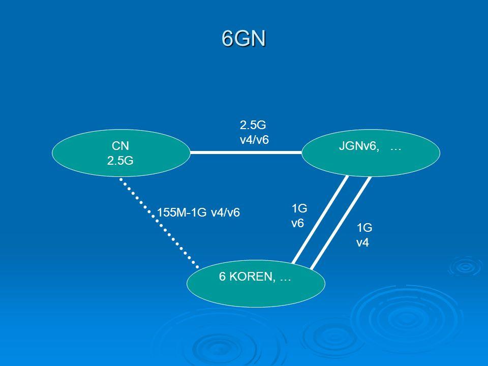 6GN 2.5G v4/v6 1G v4 1G v6 155M-1G v4/v6 CN 2.5G JGNv6, … 6 KOREN, …