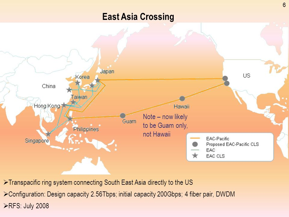 6 East Asia Crossing Transpacific ring system connecting South East Asia directly to the US Configuration: Design capacity 2.56Tbps; initial capacity