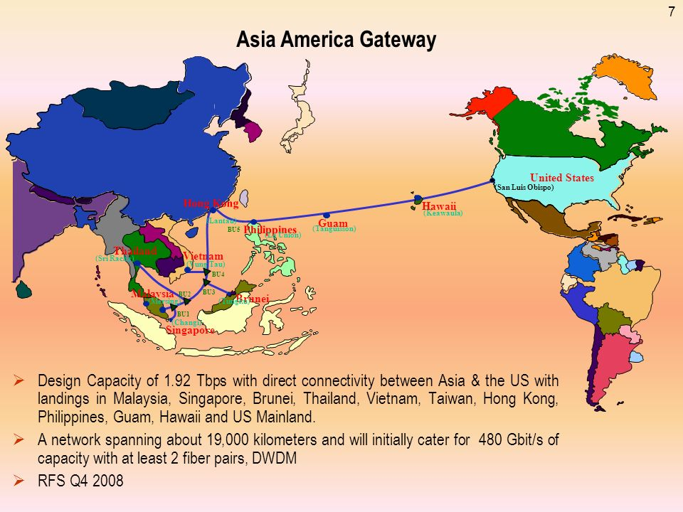 7 Asia America Gateway Design Capacity of 1.92 Tbps with direct connectivity between Asia & the US with landings in Malaysia, Singapore, Brunei, Thailand, Vietnam, Taiwan, Hong Kong, Philippines, Guam, Hawaii and US Mainland.