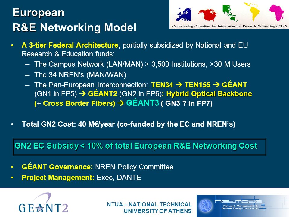 NTUA – NATIONAL TECHNICAL UNIVERSITY OF ATHENS European R&E European R&E Networking Model A 3-tier Federal Architecture, partially subsidized by National and EU Research & Education funds: –The Campus Network (LAN/MAN) > 3,500 Institutions, >30 M Users –The 34 NRENs (MAN/WAN) Hybrid Optical Backbone –The Pan-European Interconnection: TEN34 TEN155 GÉANT (GN1 in FP5) GÉANT2 (GN2 in FP6): Hybrid Optical Backbone (+ Cross Border Fibers) GÉANT3 ( GN3 .