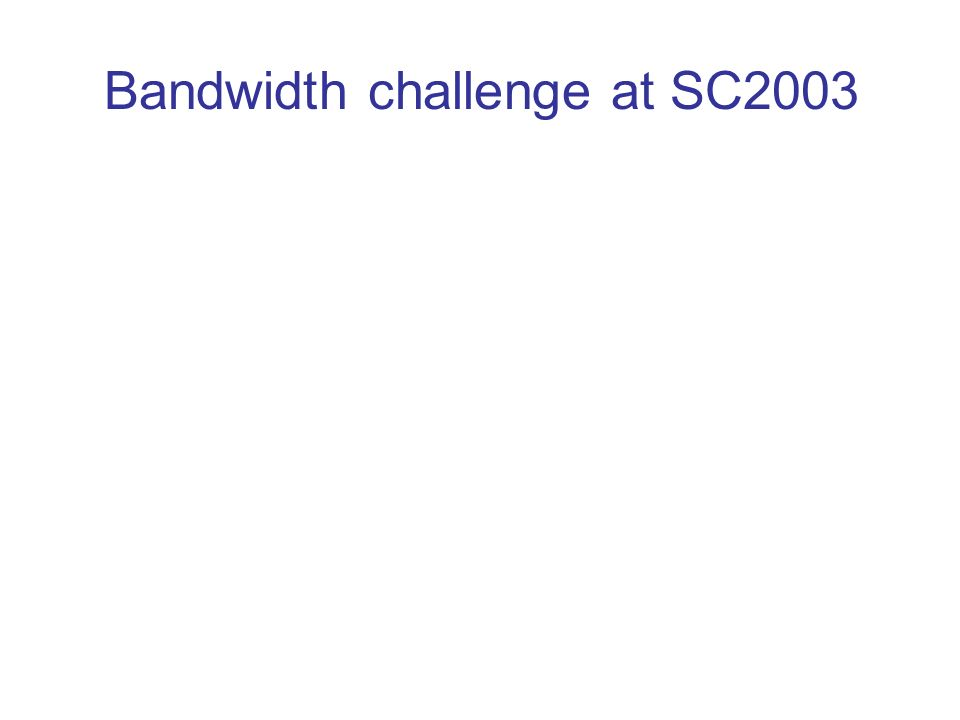 Bandwidth challenge at SC2003