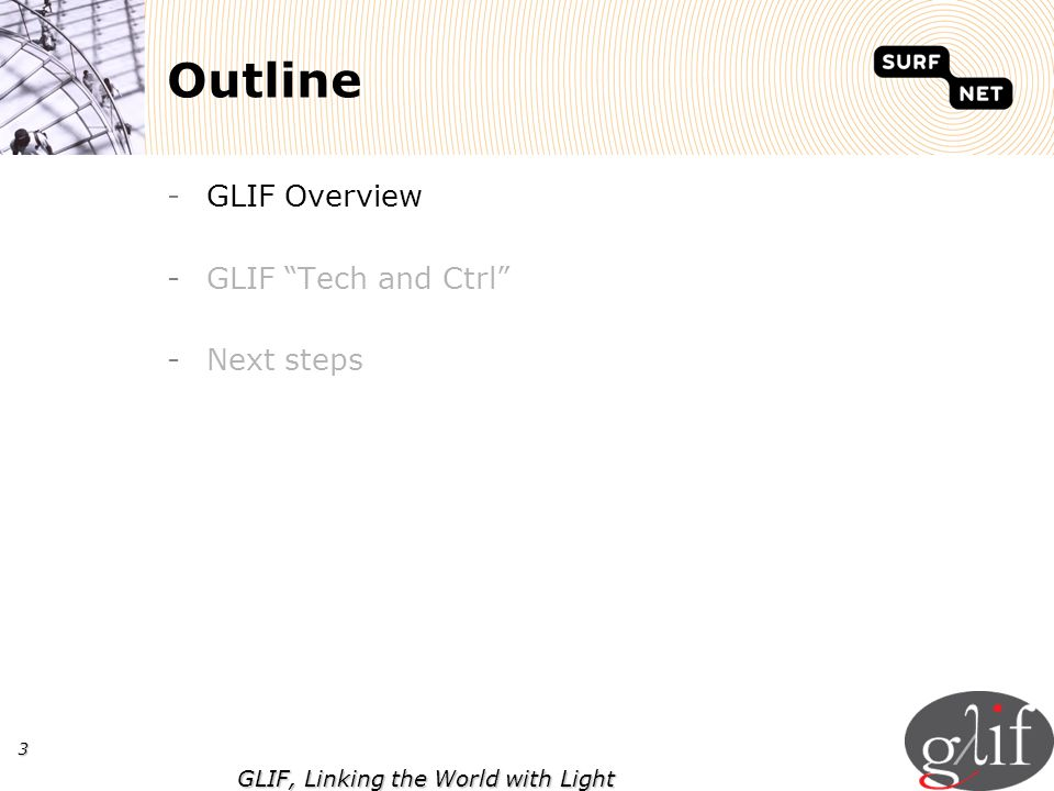 3 GLIF, Linking the World with Light Outline -GLIF Overview -GLIF Tech and Ctrl -Next steps