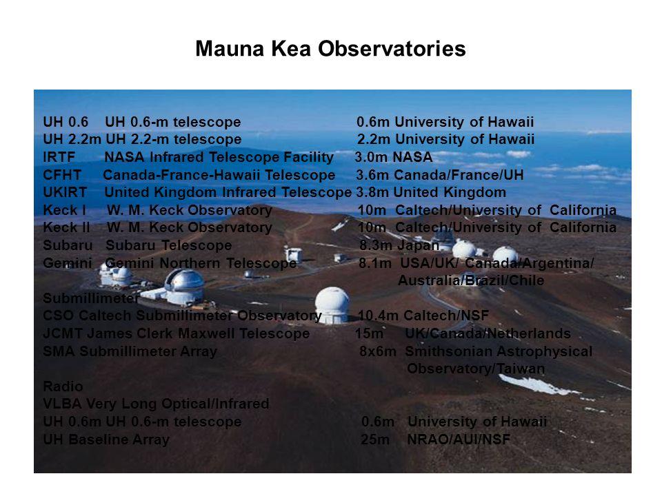 Mauna Kea Observatories UH 0.6 UH 0.6-m telescope 0.6m University of Hawaii UH 2.2m UH 2.2-m telescope 2.2m University of Hawaii IRTF NASA Infrared Telescope Facility 3.0m NASA CFHT Canada-France-Hawaii Telescope 3.6m Canada/France/UH UKIRT United Kingdom Infrared Telescope 3.8m United Kingdom Keck I W.