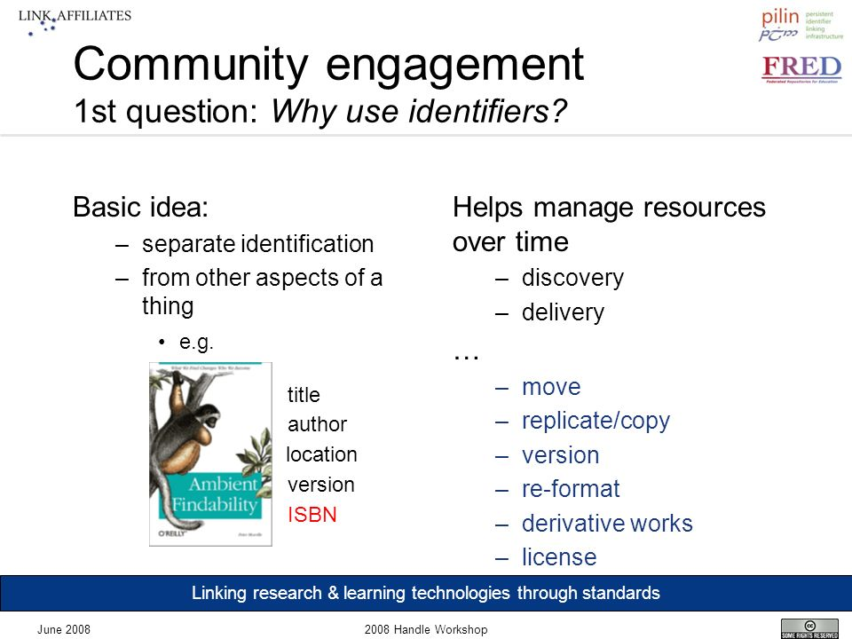 Linking research & learning technologies through standards June 20082008 Handle Workshop Community engagement 1st question: Why use identifiers.