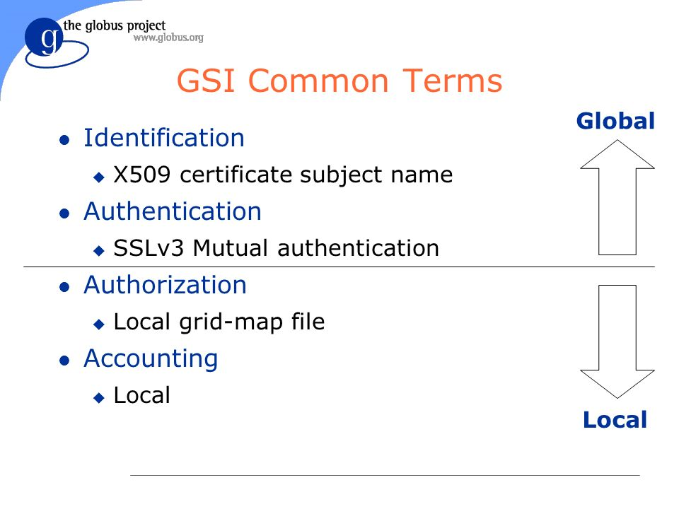 GSI Common Terms l Identification u X509 certificate subject name l Authentication u SSLv3 Mutual authentication l Authorization u Local grid-map file