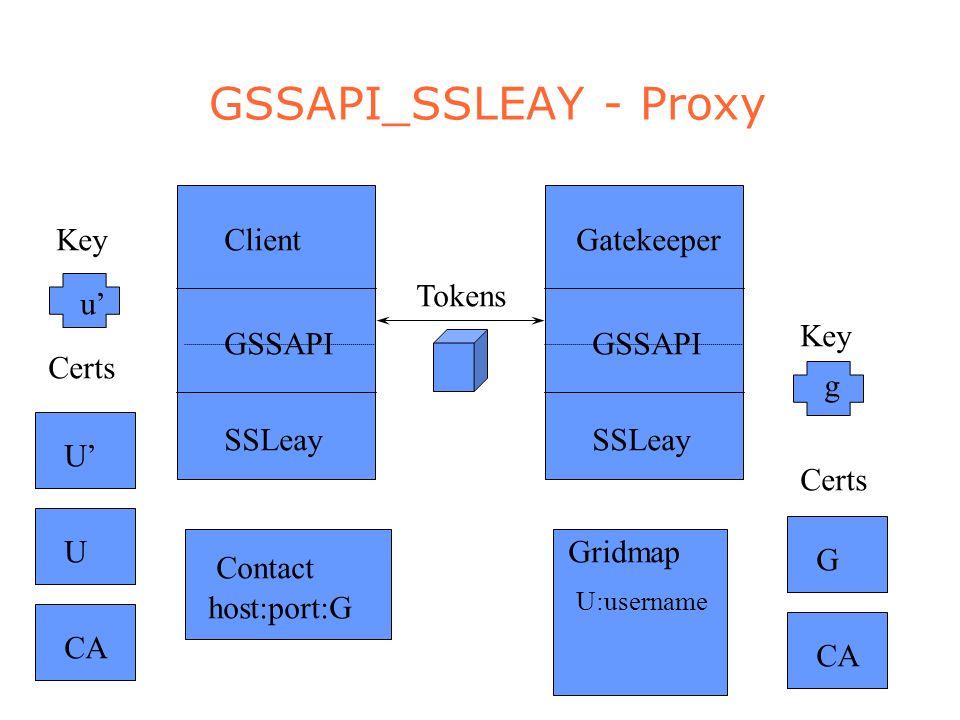 GSSAPI_SSLEAY - Proxy CAUG u g Certs Key Contact Gridmap U:username Tokens host:port:G U SSLeay GSSAPI Client SSLeay GSSAPI Gatekeeper