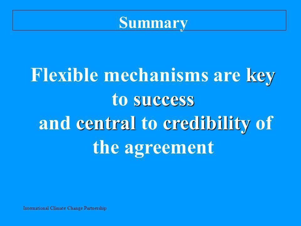 International Climate Change Partnership Summary key success Flexible mechanisms are key to success centralcredibility and central to credibility of the agreement