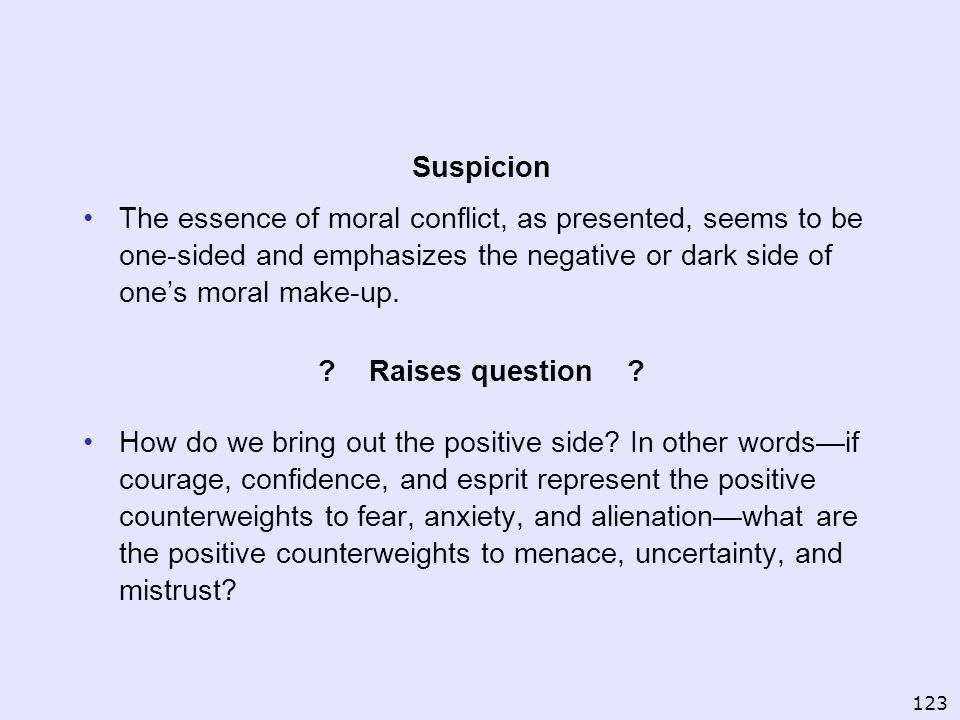 Suspicion The essence of moral conflict, as presented, seems to be one-sided and emphasizes the negative or dark side of ones moral make-up. ? Raises