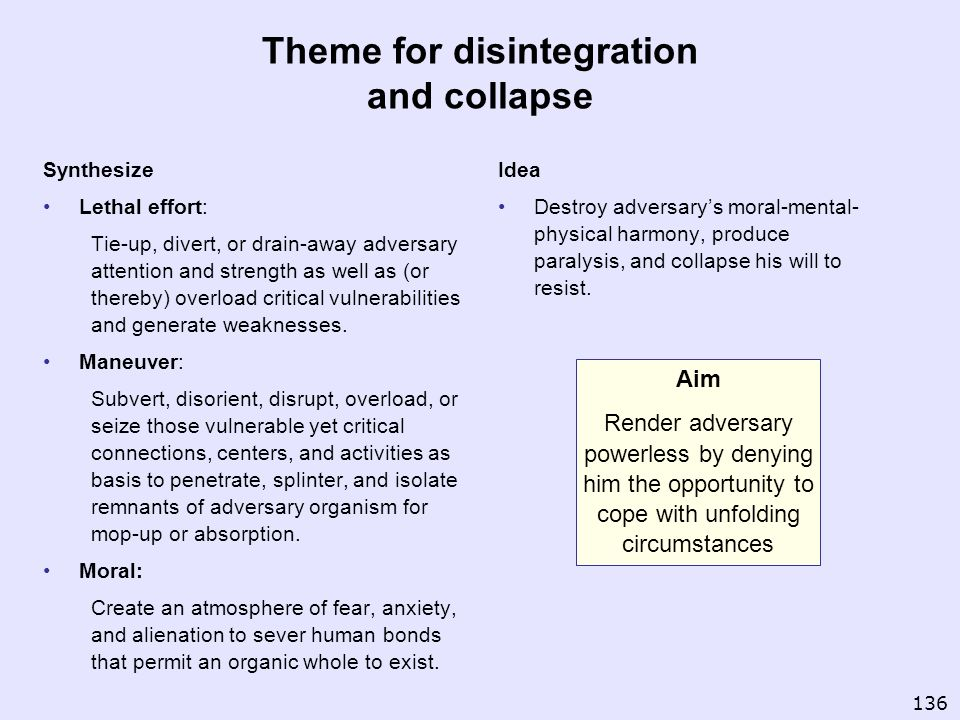 Theme for disintegration and collapse Synthesize Lethal effort: Tie-up, divert, or drain-away adversary attention and strength as well as (or thereby)
