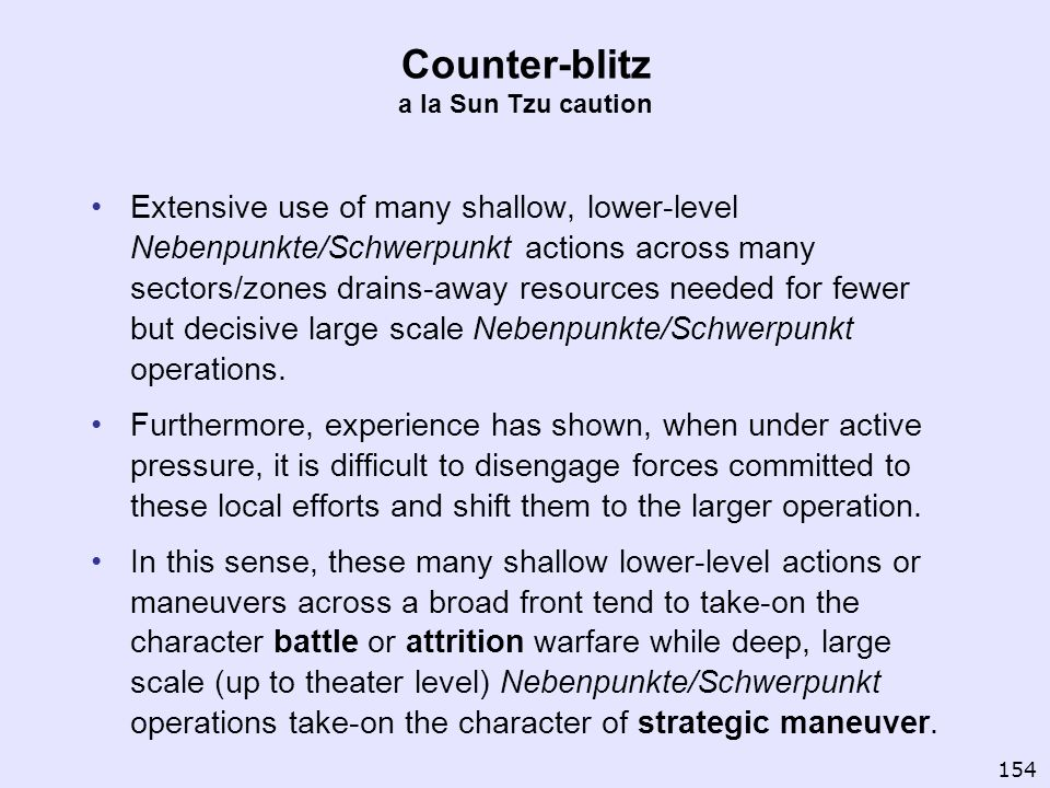 Counter-blitz a la Sun Tzu caution Extensive use of many shallow, lower-level Nebenpunkte/Schwerpunkt actions across many sectors/zones drains-away re