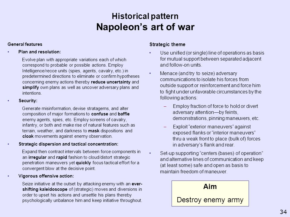 Historical pattern Napoleons art of war General features Plan and resolution: Evolve plan with appropriate variations each of which correspond to prob