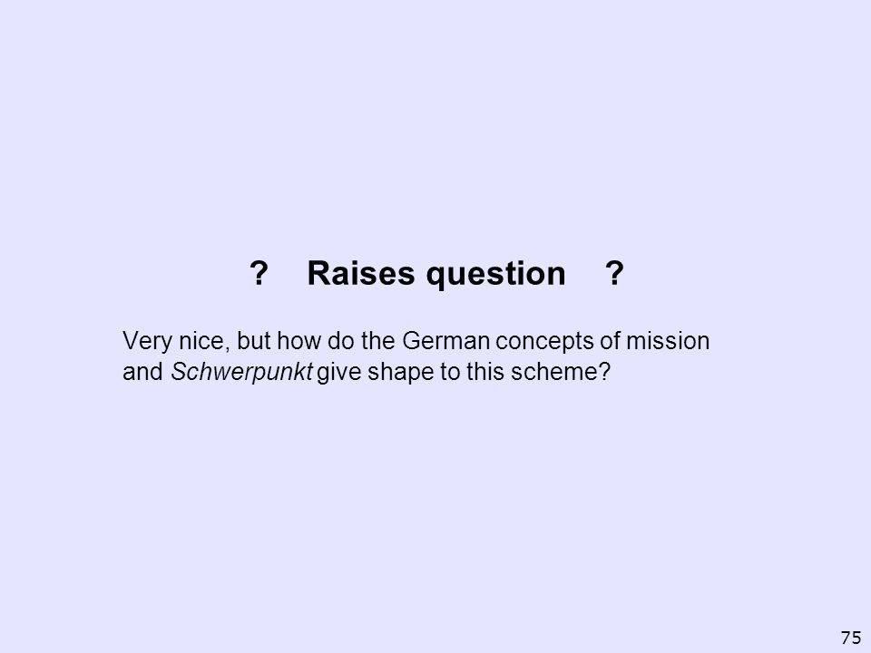 ? Raises question ? Very nice, but how do the German concepts of mission and Schwerpunkt give shape to this scheme? 75