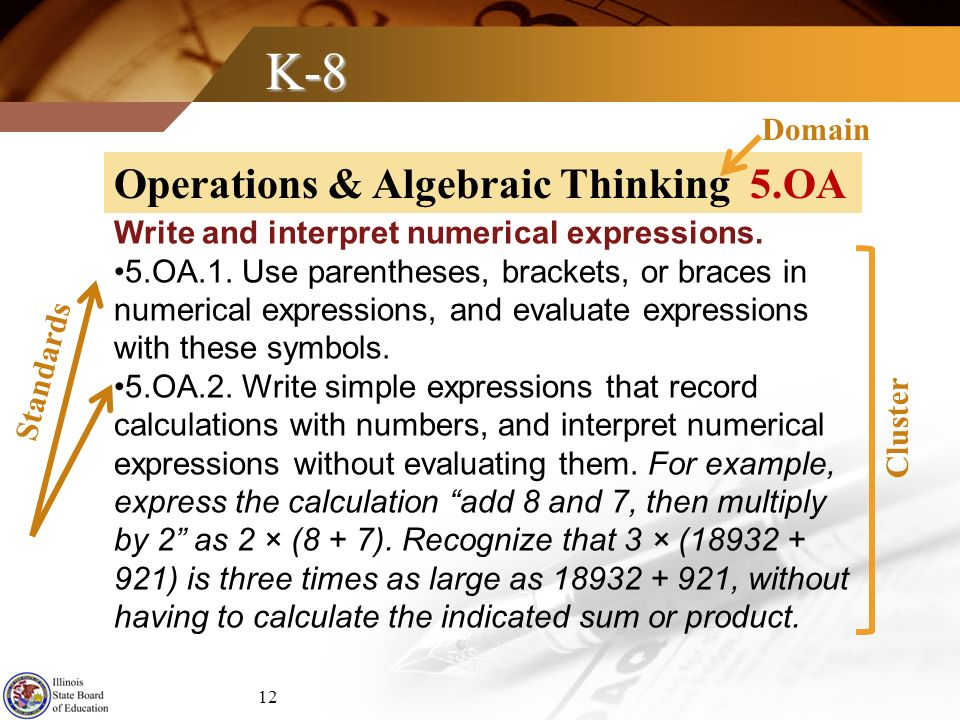 K-8 Write and interpret numerical expressions. 5.OA.1. Use parentheses, brackets, or braces in numerical expressions, and evaluate expressions with th