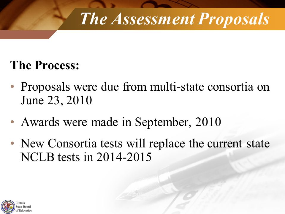 The Assessment Proposals The Process: Proposals were due from multi-state consortia on June 23, 2010 Awards were made in September, 2010 New Consortia