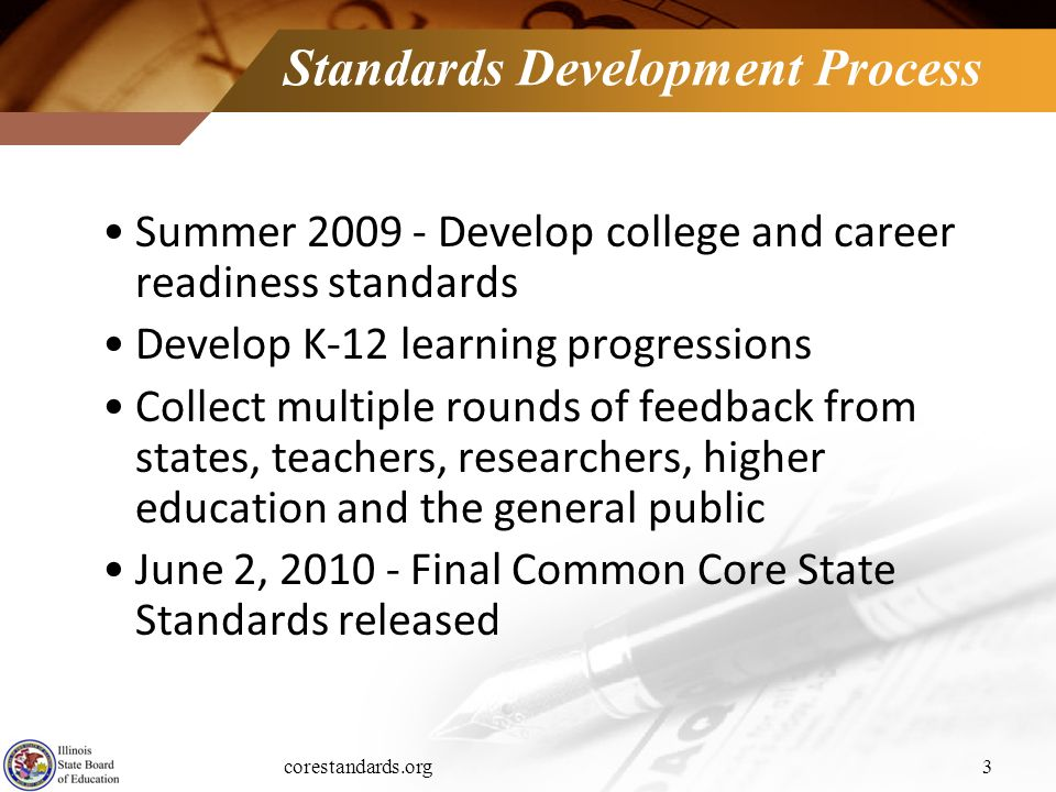 corestandards.org3 Standards Development Process Summer 2009 - Develop college and career readiness standards Develop K-12 learning progressions Colle