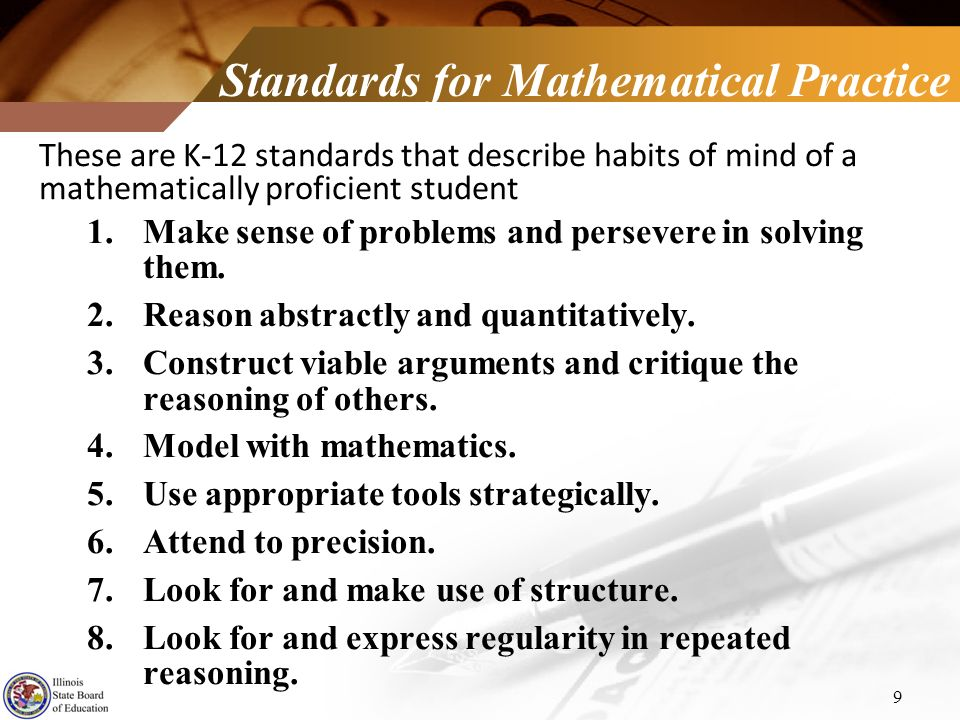Standards for Mathematical Practice These are K-12 standards that describe habits of mind of a mathematically proficient student 1.Make sense of probl
