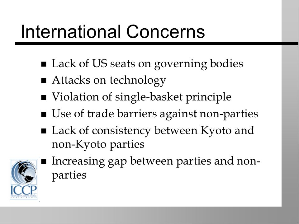 International Concerns Lack of US seats on governing bodies Attacks on technology Violation of single-basket principle Use of trade barriers against non-parties Lack of consistency between Kyoto and non-Kyoto parties Increasing gap between parties and non- parties