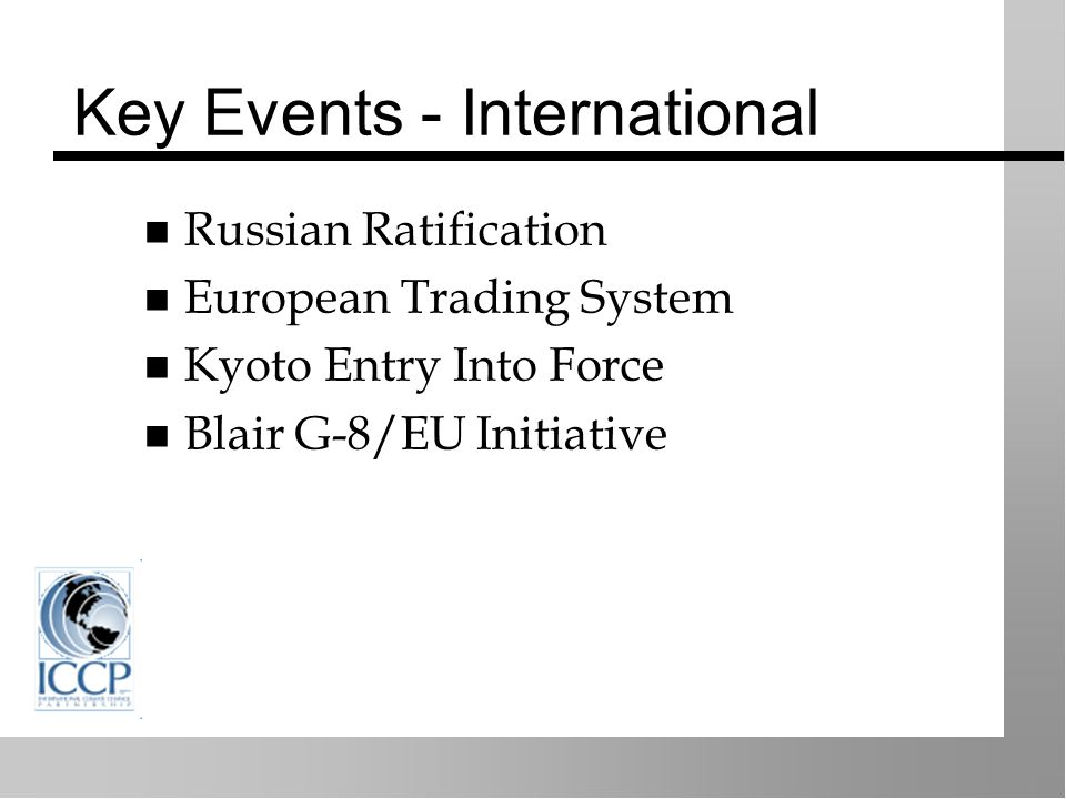 Key Events - International Russian Ratification European Trading System Kyoto Entry Into Force Blair G-8/EU Initiative