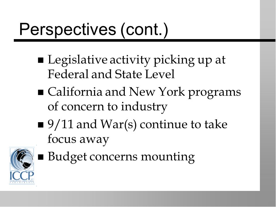 Perspectives (cont.) Legislative activity picking up at Federal and State Level California and New York programs of concern to industry 9/11 and War(s) continue to take focus away Budget concerns mounting